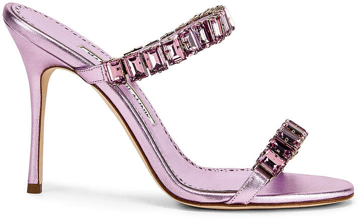 Manolo Blahnik for FWRD Dallitre 105 Sandal in Light Pink Nappa | FWRD