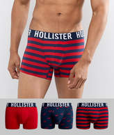 Hollister Solid 3 Pack Trunks Logo Waistband In Red Blue/red Seagulls/red Stripe