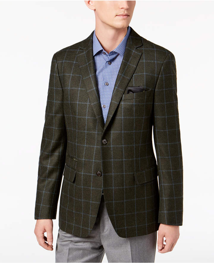 Hunter Tallia Men Slim-Fit Green Windowpane Wool Sport Coat