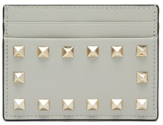 Valentino Rockstud Leather Cardholder - Grey
