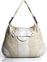 Luca Luca Beige Woven Straw Cream Leather Trim Wood Accent Hobo Bag