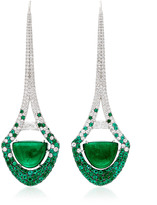 Martin Katz Emerald HalfMoon Cabochon Eiffel Tower Drop Earrings