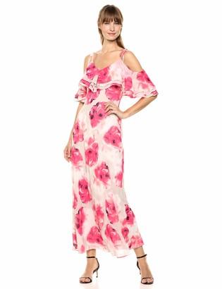 Calvin Klein Women's Cold Shoulder V-Neck Chiffon Maxi Dress