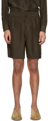 AURALEE Brown Light Silk Shorts