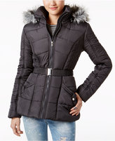 Rampage Faux-Fur-Trim Belted Puffer Coat, A Macy's Exclusive