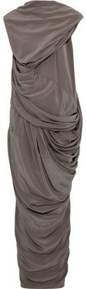 Rick Owens Branch Draped Silk Crepe De Chine Maxi Dress