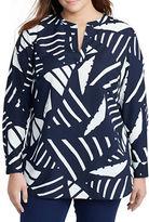 Lauren Ralph Lauren Plus Long Sleeve Crepe Split-Neck Tunic
