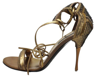 Sergio Rossi Brown Leather And Sequin Strap Sandals Size 38