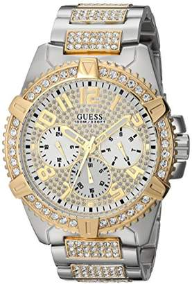 GUESS Stainless Steel + Gold-Tone Crystal Embellished Bracelet Watch with Day