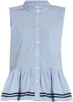 Sea Peplum-hem sleeveless cotton shirt
