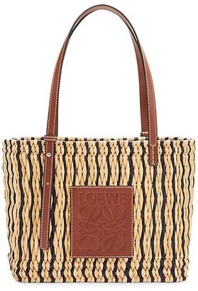 Loewe Square Leather-Trimmed Raffia Basket Bag