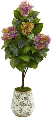 "Nearly Natural 50"" Hydrangea Artificial Plant in Decorative Planter"