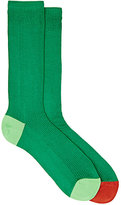 "Paul Smith Men's ""Odd"" Mid-Calf Socks-GREEN"