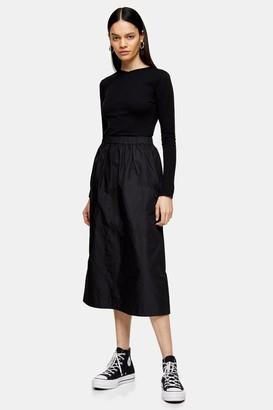 Topshop Womens **Black Taffeta A-Line Skirt By Black