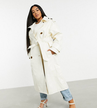 ASOS DESIGN Curve croc vinyl trench coat in white