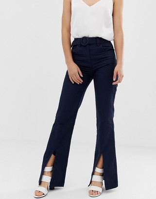 Asos Design DESIGN full length flare trouser with belt and front split-Navy