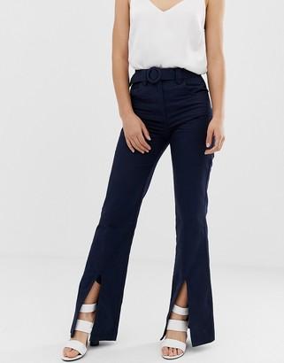 ASOS DESIGN full length flare trouser with belt and front split