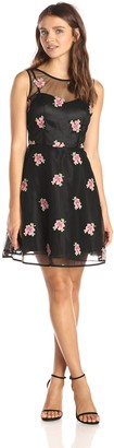 Minuet Women's A Line Floral Dress with Scoop Sheer Neckline