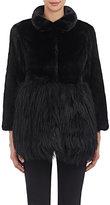 Co Women's Fur Peplum Coat-BLACK
