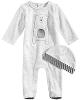 First Impressions 2-Pc. Velour Hat & Bear Footed Coverall Set, Baby Boys (0-24 months), Created for Macy's