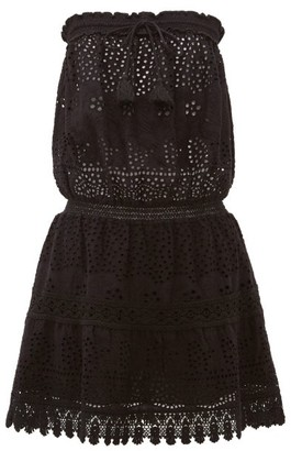 Melissa Odabash Iris Bandeau Crocheted Cotton-poplin Dress - Black