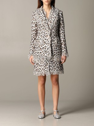 Blumarine Blazer Jacket In Lurex Animalier Mat