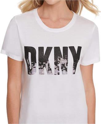 DKNY Glitter Logo Print T-Shirt