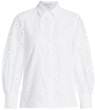 Carolina Herrera Collared Eyelet Puff-Sleeve Blouse