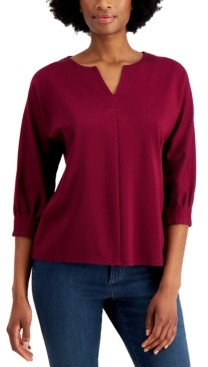 Charter Club Cotton Split-Neck Top, Created for Macy's