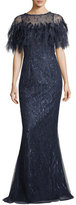 Rickie Freeman For Teri Jon Feathered Caplet Embellished Trumpet Evening Gown