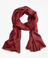 Brooks Brothers Jacquard Silk Wool Fringe Scarf