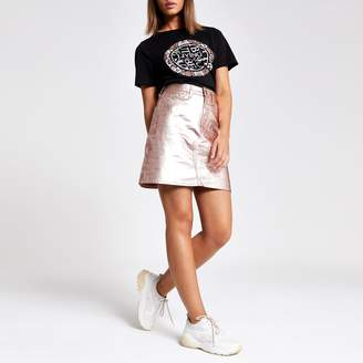 River Island Womens Rose Gold metallic denim skirt