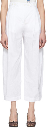 Lanvin White Canvas Crinkle Trousers