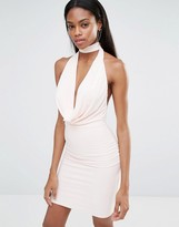 Missguided Halterneck Plunge Front Bodycon Dress