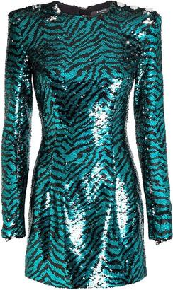 Balmain Sequined Zebra Stripe Mini Dress