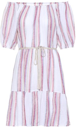 Velvet Cinthia striped linen-blend minidress