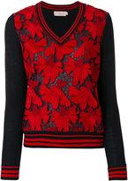 Tory Burch lace panel V-neck jumper - women - Polyester/Merino - S