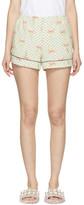 Miu Miu Ivory Polka Dot and Bow Pyjama Shorts