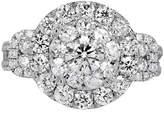 FINE JEWELRY Womens 3 CT. T.W. Genuine Round White Diamond 14K Gold Engagement Ring