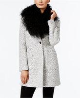 Calvin Klein Tibetan Lamb Fur-Collar Marled Walker Coat