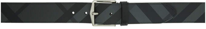 Burberry Grey and Black London Check Belt