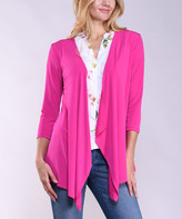 Lbisse Women's Open Cardigans Fuchsia - Fuchsia Drape-Front Three-Quarter Sleeve Open Cardigan - Women