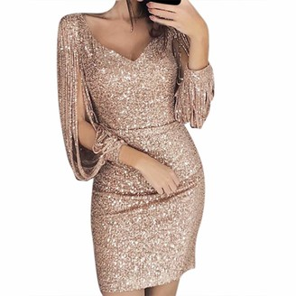 LEXUPE Women Comfortable Sexy Dresses Casual Fashion Summer Skirts Ladies Solid Sequined Stitching Shining Club Sheath Long Sleeved Mini Dress (M