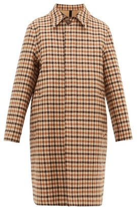 Ami Point-collar Checked Wool Coat - Mens - Beige Multi