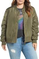 Steve Madden Plus Size Women's Side Zip Bomber Jacket