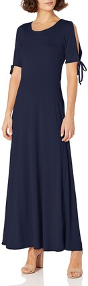 Star Vixen Women's Petite Short/Slit Sleeve Keyhole-Back Skater Seam Maxi Dress