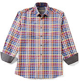 Visconti Long-Sleeve Spread Collar Plaid Woven Shirt