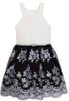 Beautees Belted Lace Bottom Dress with Belt (Big Girls)