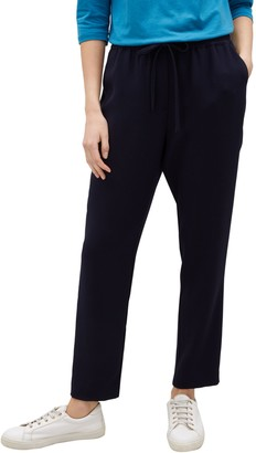 Jaeger Elasticated Waist Trousers, Navy