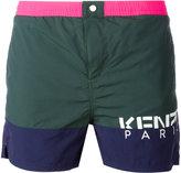 Kenzo Green logo print swim shorts - men - Nylon - XS